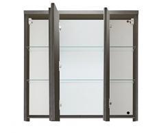 trendteam ado50121 armadietto per bagno con specchio fumo argento, BxHxP 75 x 73 x 22 cm