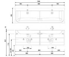 Star Line Puris ghisa minerale-doppio lavabo (SWM926D1), so, 160,6 cm