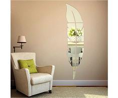 OurKosmos® Feather acrilico DIY 3D parete Specchio salone della casa di Bagno Decal Murales Wall Sticker (argento)