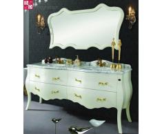 Doppio lavabo design lavabo vanità barocco in marmo bianco 180x85x57 NUOVO