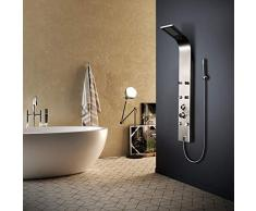 Elbe Colonna Doccia con Miscelatore, Pannello Doccia 3 Funzioni, in acciaio Inox 304, 6 idrogetti orientabili massaggianti, design luxury moderno ed elegante