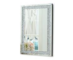 RICHTOP Grande Specchio da Parete con Triplo rettangolo, con Diamanti Finti e Struttura Argentata, specchi da Soggiorno (90 x 60 cm)