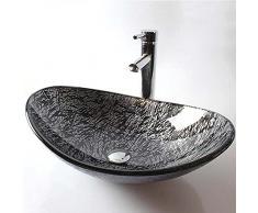 Vaso per bagno Lavandino lavabo con lavandino lavabo in vetro temperato ciotola lavabo lavandino per lavare la lavandino per il lavandino per ufficio ufficio-UN