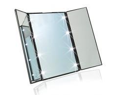URAQT Piegabile Specchio Luminoso 8 LED Cosmetico per Trucco da Tavolo , Illuminato Quadrato Luce Fredda Portabile Viaggio Esterno