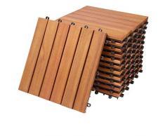 Deuba Piastrelle in legno di eucalipto 11pz di eucalipto Certificato FSC Mattonelle 1m² sistema ad incastro 30x30cm giardino terrazza balcone piscina sauna pavimentazione