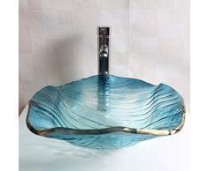 Lavandino del Lavabo da Appoggio del Bagno Forma di Foglia di Loto Blu, Vaso di Vetro del Guardaroba Bordi Dorati Ciotola Lavandino del Lavabo Artigianale Fatto a Ma