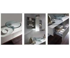 Mobile Arredo Bagno da 140cm sospeso bianco con lavabo d'appoggio e specchio con mensole Mobili