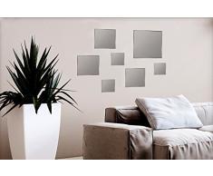 Specchi decorativi da parete 7 pezzi fissaggio adesivo specchio quadrati