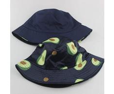 WAZHX Cappello Autunnale E Invernale Cappello da Pescatore con Stampa Frutta Cappello da Donna Parasole da Esterno Pieghevole Cappello Doppio Lavabo M(56-58Cm) Navy