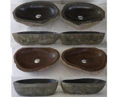 Doppio lavabo da appoggio in pietra naturale 45/50 cm, Duo. Scelta su foto inviate dopo il vostro ordine.