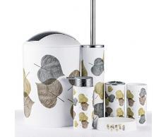 JOTOM Set di Accessori da Bagno Plastica da 6 Pezzi Set Bottiglia di Lozione da Bagno Tazza Spazzolino Portasapone Coppa del Dente(Foglia Oro e Argento)