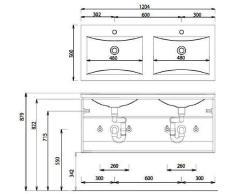 Puris Cool Line vetro doppio lavabo (WGE712081), antracite, 120 cm