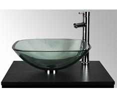 – lavabo da appoggio in vetro trasparente piazza ciotola lavandino