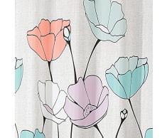 InterDesign Botanical Poly Tende per doccia in tessuto impermeabile, Tenda vasca da bagno in poliestere con motivo floreale, variopinto