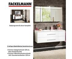 Fackelmann – Set di mobili da bagno B. Clever 2 pezzi 120 cm Bianco con mobiletto da bagno con lavabo in marmo e armadietto a specchio LED