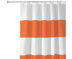 InterDesign Zeno Tenda doccia in tessuto, Tende per doccia in poliestere lavabile con larghe righe orizzontali 183,0 cm x 183,0 cm, arancione/bianco