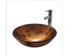 LHQ-HQ Bathroom Lavandino Vetro temperato contatore Bacino al di sopra Bagno Art Bacino Round Thin Side Lavabo Bella Pratico (Color : Metallic)