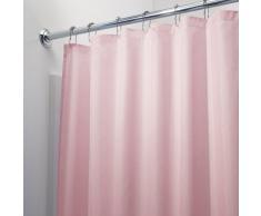 iDesign Tenda doccia, Tenda da doccia in poliestere con orlo rinforzato, Tenda per vasca da bagno lavabile con dimensioni di 183,0 cm x 183,0 cm, rosa