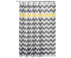 Tende da Doccia Liz.Lia Shower Curtain con Tessuto Idrorepellente in Poliestere per Bagno Impermeabile Effetto Anti-Muffa (180 x 180 cm,12 Anelli Inclusi)-Giallo