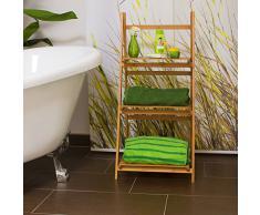 Relaxdays Scaffale Bagno, Bambù, HBT: 100 X 45 X 33 cm, Marrone