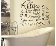 FSSS Ltd - Adesivo da parete per bagno, in vinile, con scritte in lingua inglese e bolle, Vinile, bianco, 76 x 65 cm