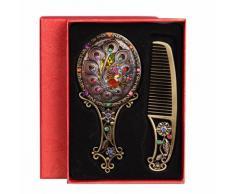 Specchio Bagno Design Antico Bagni Mobiletti Barocco Trucco Portable a Mano + pettine Impostato Gemma Piccolo