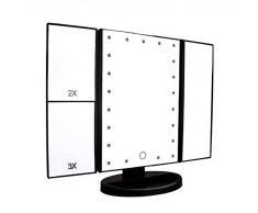 Leeron Specchio da Trucco 1X / 2X / 3X Ingradimento Specchio Triplicare Pieghevole Portatile, Specchio Cosmetico Illuminato con 21 LED Luce per Regalo San Valentino, Viaggio, Rasatura, Trucco, Nero