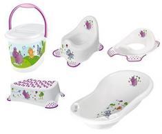 OKT Kids - Set di accessori da bagno per neonati: vasca per il bagnetto (misura XXL), vasino, riduttore per WC, sgabello e pattumiera per pannolini, motivo ippopotamo, colore: Bianco