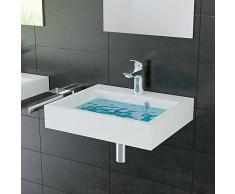 Lavabo in vetro lavabo rettangolare a portata di mano In Mineral lavabo 50 cm larghezza del bagno