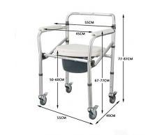 GUOHONGCX Doccia Sedia Lega Di Alluminio Con Ruote Toilette Per Anziani Pieghevole Toilette Toilette Stand Up Ausiliario,Pulley