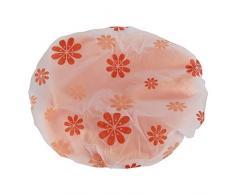 Cuffia per la doccia impermeabile - SODIAL(R) cuffia per la doccia impermeabile riutilizzabile di fibra di doppio strato elastico (colore casuale)