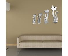 Walplus - Specchi decorativi da parete, a forma di gatti, colore argento