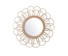 RecoverLOVE Specchi da Parete Specchiera Decorativa da Appendere a Parete con Specchio in Art Deco Naturale Rotondo in Rattan Specchiera da Parete a Forma di Specchio