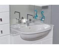 Mobile Arredo Bagno cm 100+30 con lavabo semincasso colonna e specchio Mobili
