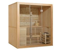 Sauna finlandese 180x150 per 4 persone con muro in marmo e stufa