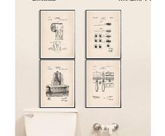 Non-branded artaslf Bagno Brevetto Poster e Stampe dEpoca Rotolo di Carta igienica Spazzolino da Denti Rasoio Vasca da Bagno Wall Art Canvas Pittura Bagno Decor- 40x50cmx4 Senza Cornice