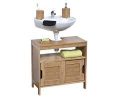 Tendance Mahe bambù lavaggio tavolo struttura Plus 2 ante scorrevoli in MDF e 1 ripiano interno, da pavimento, in legno, beige