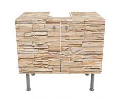 Mobile per lavabo design Asian Stonewall - Large brigth stone wall of cosy stones 60x55x35cm, basso, 60cm, regolabile, mobiletto da lavandino, lavandino, mobiletto da lavabo, lavabo, mobiletto, bagno, bagnetto, mobile da bagno, Dimensione: 55cm x 60cm