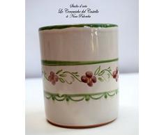 Bicchiere Portaspazzolini Linea Fiori Rosa Bordo Verde Ceramica Realizzato e Dipinto a mano da Le Ceramiche del Castello Nina Palomba Made in Italy Dimensioni H 10 x L 8,50 centimetri