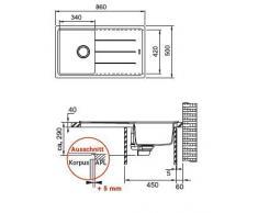 Franke base BFG 611-86 l'incasso-lavandino grafite FRAGRANITE colino - lo scarico Valvola
