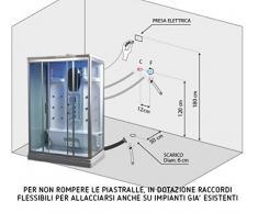 Bagno Italia cabina idromassaggio 140x90 box doccia 12 idrogetti disponibile anche con bagno turco I