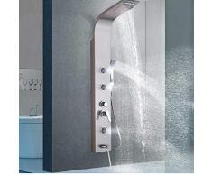 Colonna doccia di lusso Colonna doccia nichel spazzolato Pannello doccia a cascata Soffione a pioggia Soffione doccia Massaggio corpo Getto girevole