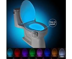 Geepro Lampada Notturne Igienici Bagno LED Luce di Notte Sensor Rivelatore PIR 8 Cambiamento di Colori per Sedili WC Ufficio Facilità di Bagno WC Lavabo Creativo Regalo per Nonna Famiglia Bambino