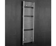Hudson Reed Radiatore Scaldasalviette Bagno Design Verticale Curvo in Acciaio Cromato | 1800mm x 600mm | 1093 Watt | Termoarredo ad Acqua | Elementi Orizzontali | Garanzia 10 Anni