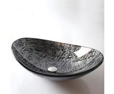 Jiuzhuo Moderno Vessel Lavabo in Vetro Temperato Ovale Nero & Argento
