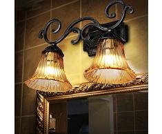 Doppio lavabo bagno fiori rurali nostalgia retrò luci anteriori specchio di vetro
