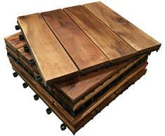 Click-Deck Hardwood Tiles 72 Piastrelle in Legno Massiccio di Acacia a Incastro, a 4 lastre per terrazza, Giardino, Balcone, Sauna, Pannello Quadrato, 30 cm