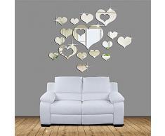 Specchi Adesivi Decorativi,Adesivi Specchio Adesivi Da Parete Home 3D Removibile Cuore Arte Decor Muro Adesivi Soggiorno Decorazione Morwind (Argento #)