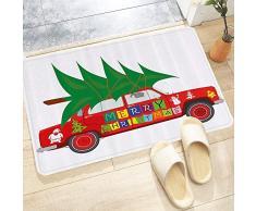 Tappetino da Bagno Antiscivolo,Natale, auto depoca rossa con albero di Natale citazione di buon Natale e pup,Tappetini per Il Bagno Vasca Doccia WC Tappeto da Terra in Microfibra Assorbente 60x100 cm