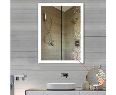 POPSPARK Specchio da Bagno Illuminazione a LED per specchi da Parete per Bagno con Funzione Anti-Nebbia, Controllo tattile (60 * 80cm)
